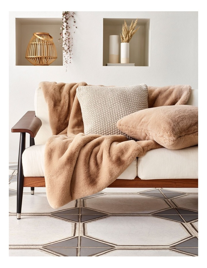 Heritage Amelie Faux Fur Cushion in Taupe image 2