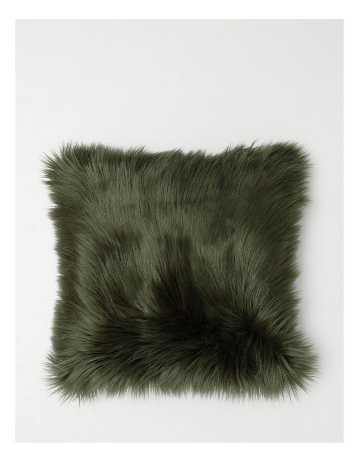 Kenya Faux Fur Cushion in Olive image 1