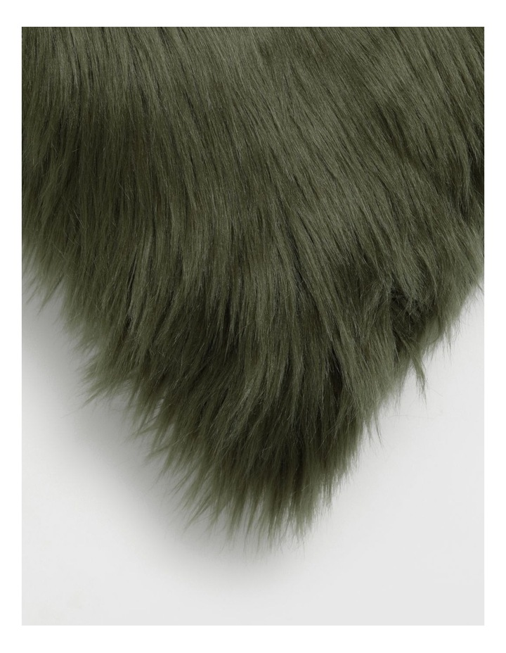 Kenya Faux Fur Cushion in Olive image 2