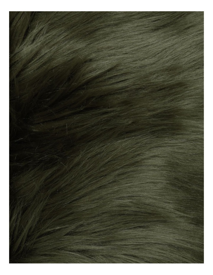 Kenya Faux Fur Cushion in Olive image 3