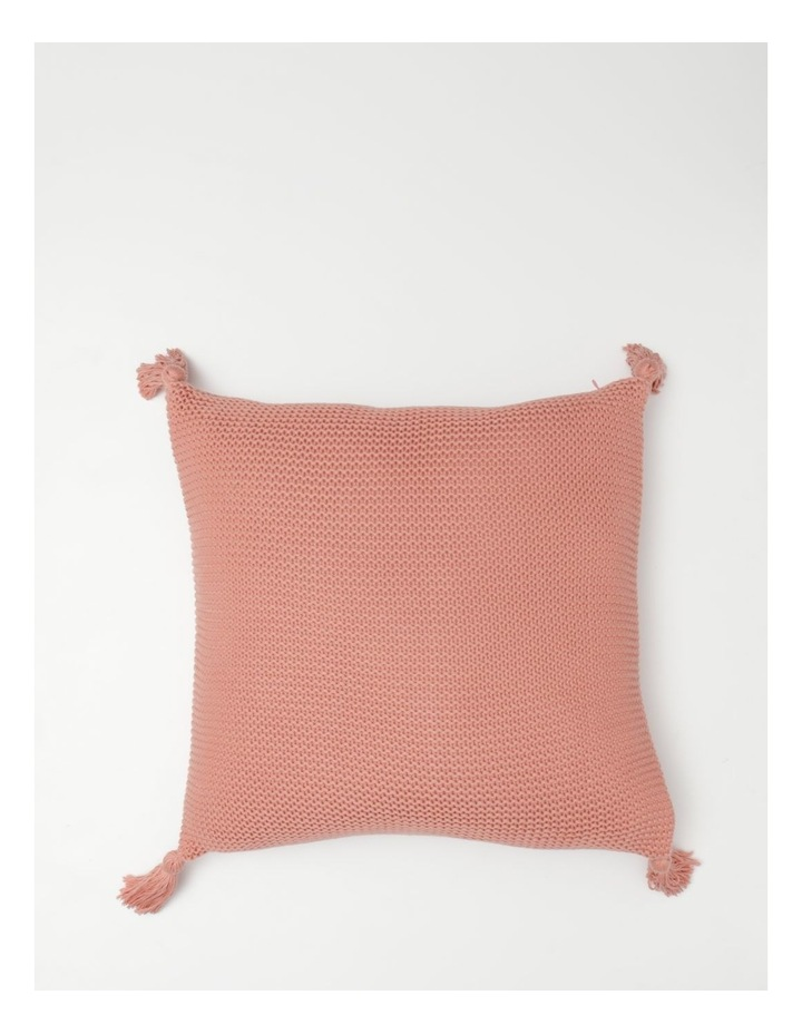 Melaky Knitted Cushion with Tassels in Pink Clay image 1