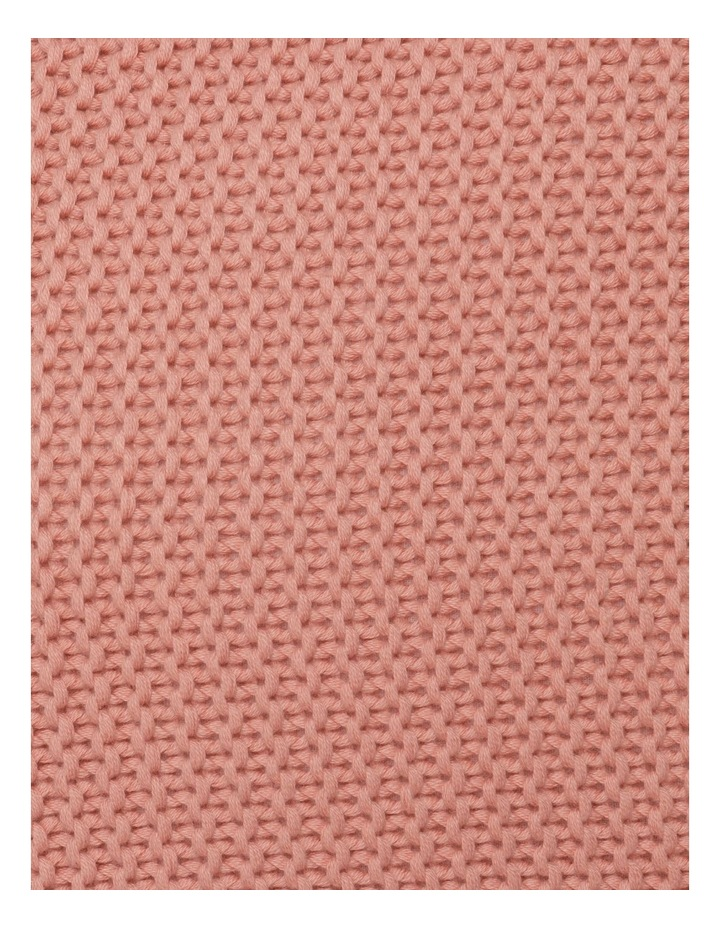 Melaky Knitted Cushion with Tassels in Pink Clay image 3