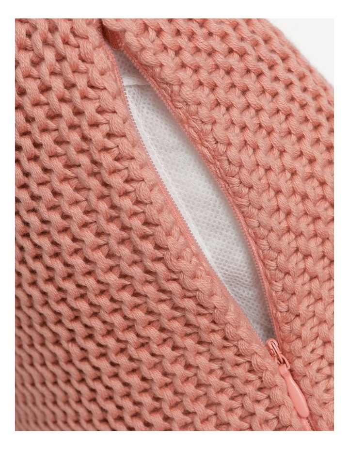 Melaky Knitted Cushion with Tassels in Pink Clay image 4
