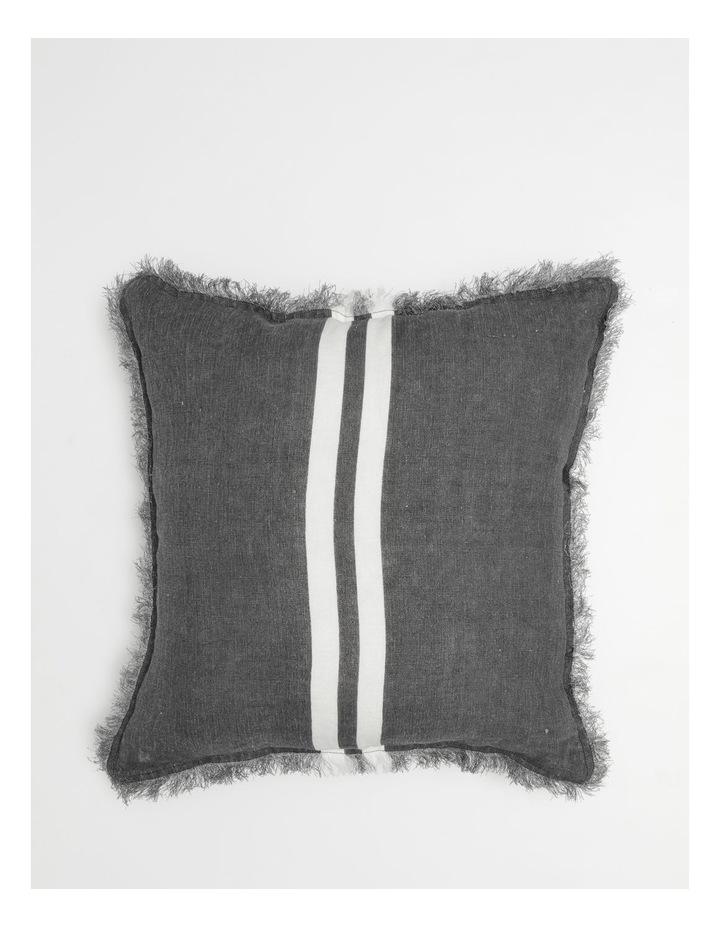AHG Douglas Frayed Linen Cushion in Dark Stone image 1
