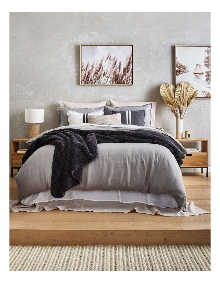 AHG Douglas Frayed Linen Cushion in Dark Stone image 2