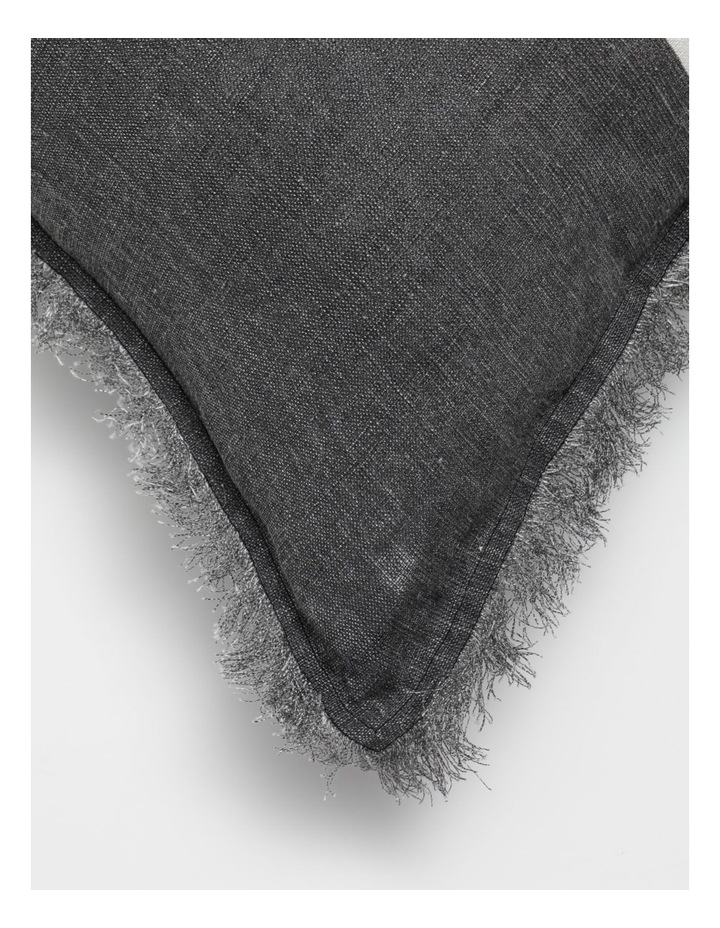 AHG Douglas Frayed Linen Cushion in Dark Stone image 3