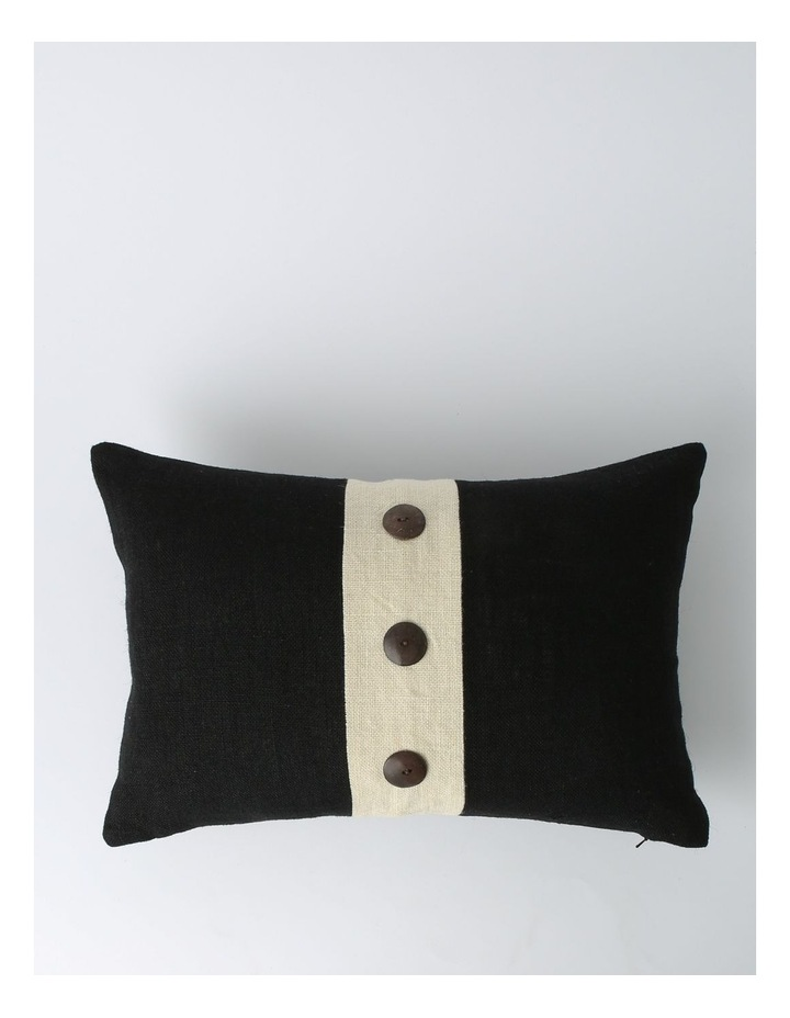 Andros Jute Panel Breakfast Cushion with Button Trims in Black image 1