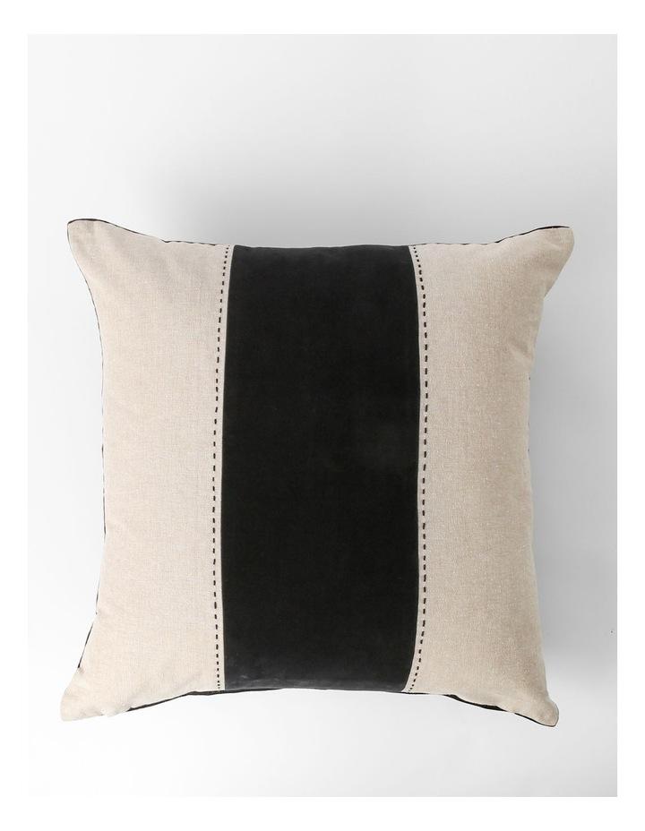 Abaco Velvet & Linen Panel Cushion in Black image 1