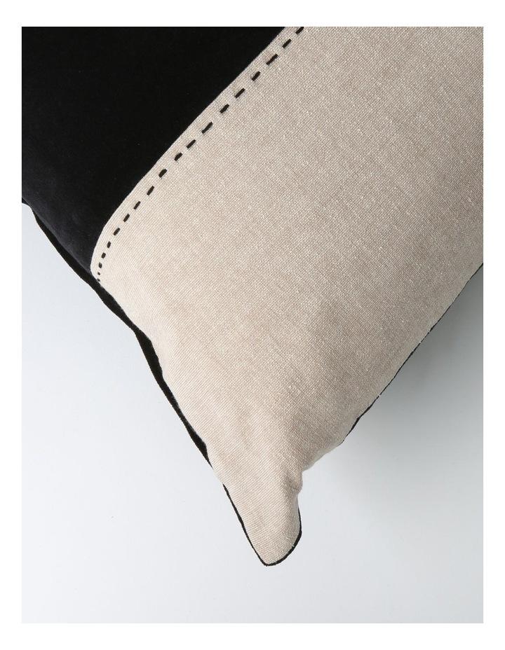Abaco Velvet & Linen Panel Cushion in Black image 2