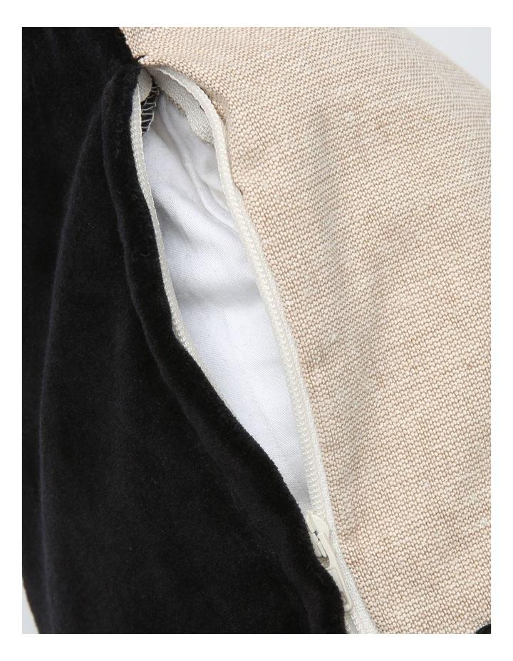 Abaco Velvet & Linen Panel Cushion in Black image 4