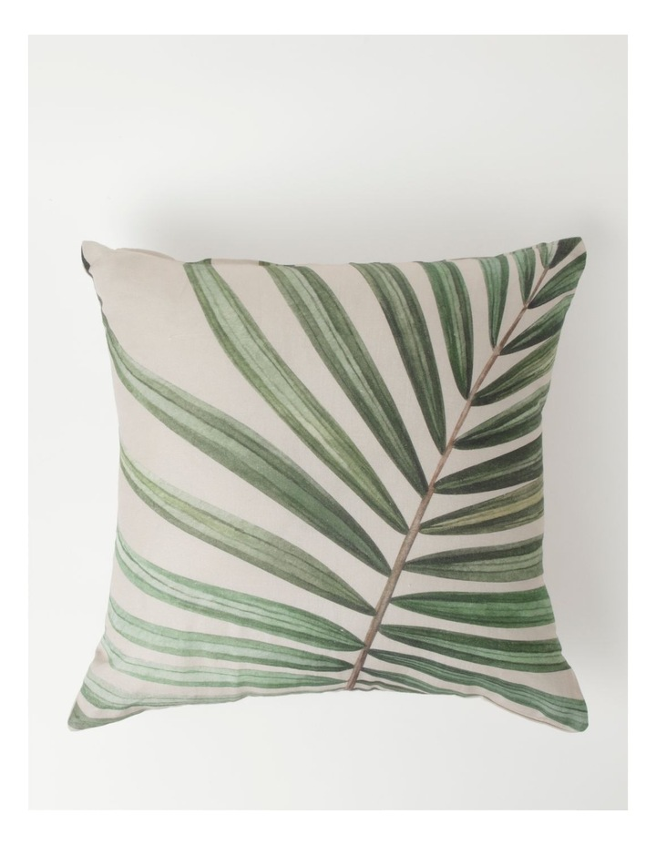 Murchison Palm Leaf Print Cotton Square Cushion in Green image 1