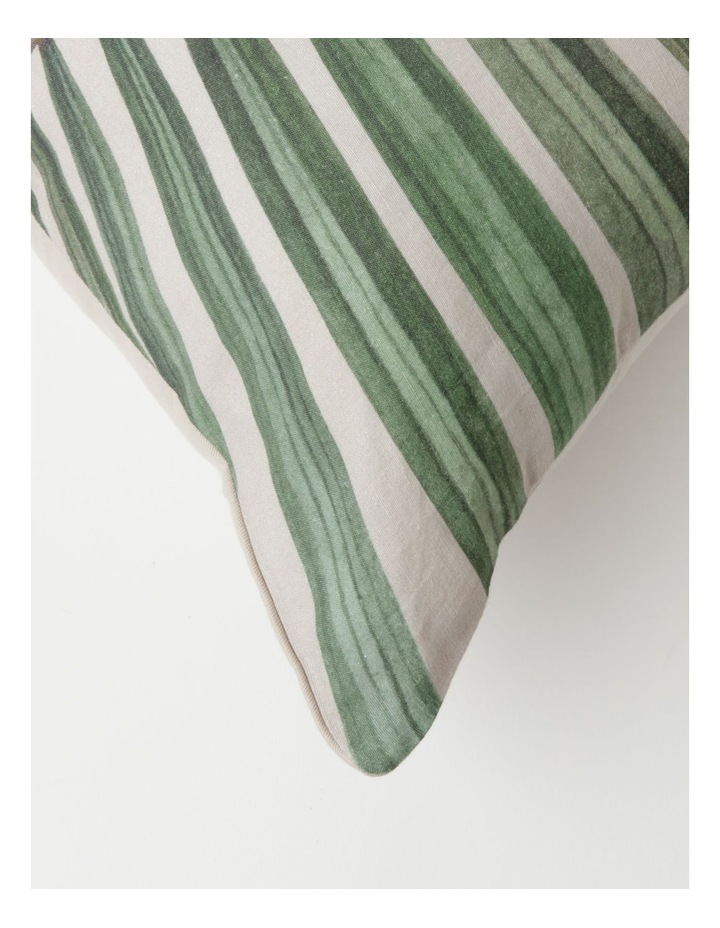 Murchison Palm Leaf Print Cotton Square Cushion in Green image 2