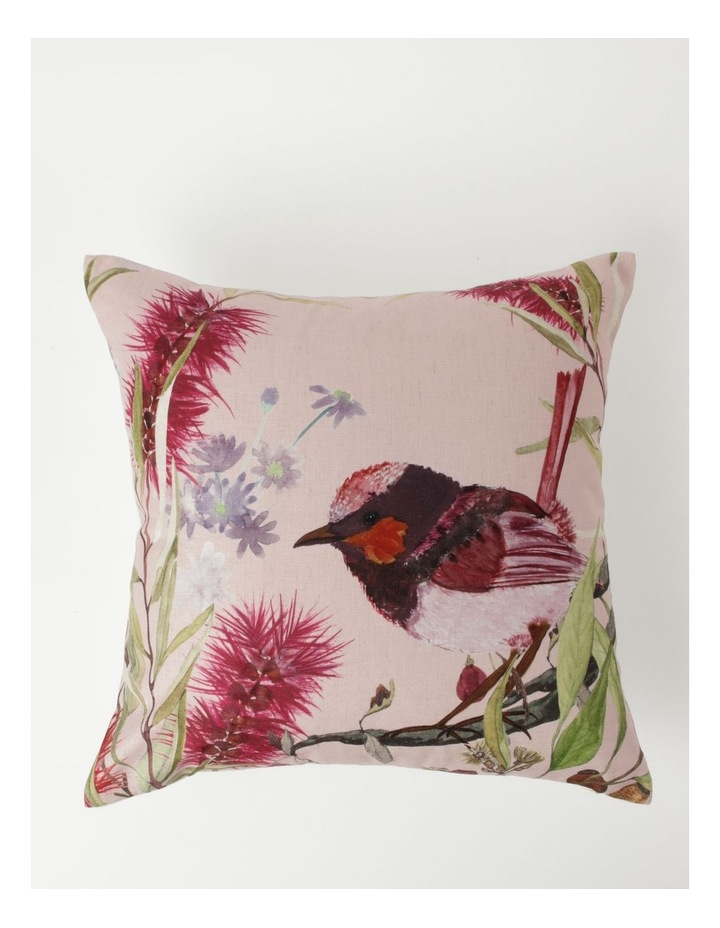 Heritage Wallace Bird Print Chenille Square Cushion in Pink image 1