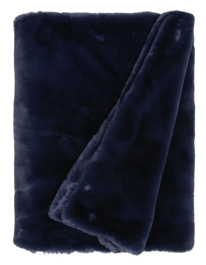 Amelie Faux Fur Throw in Dark Blue image 1