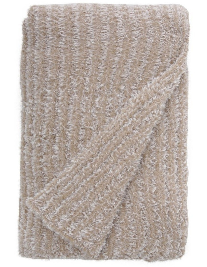 Eastleigh Faux Rabbit Fur Knit Throw in Brown image 1