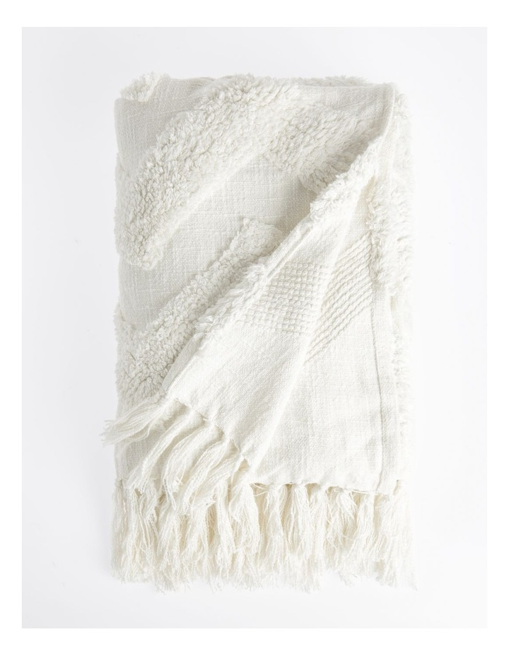 Vue Osiris Knit Throw with Tufting in Off White: 127x152cm image 1