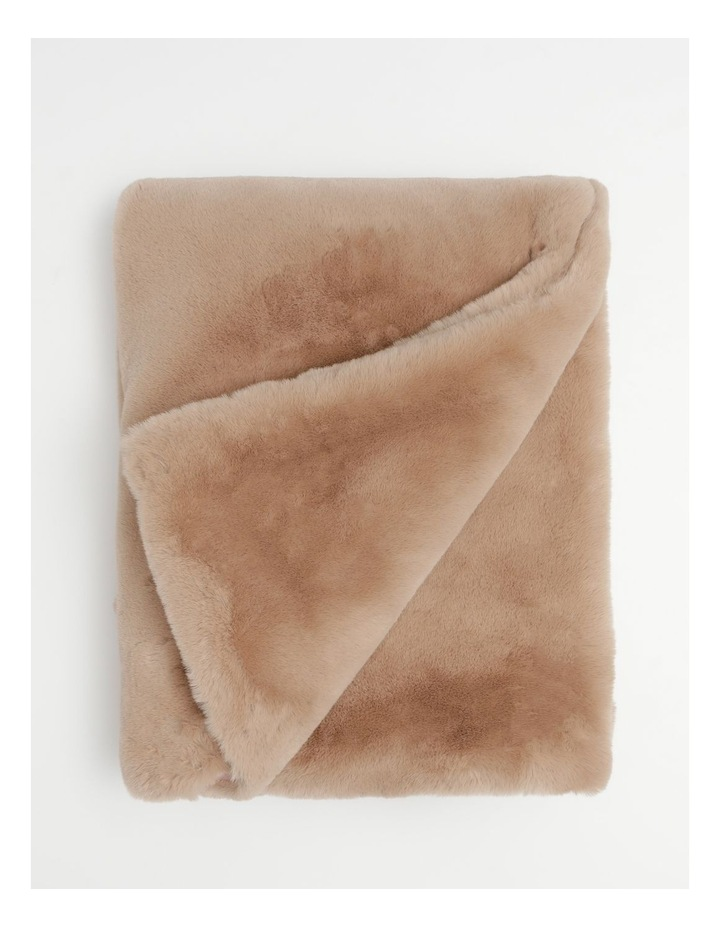Amelie Faux Fur Throw in Taupe image 1