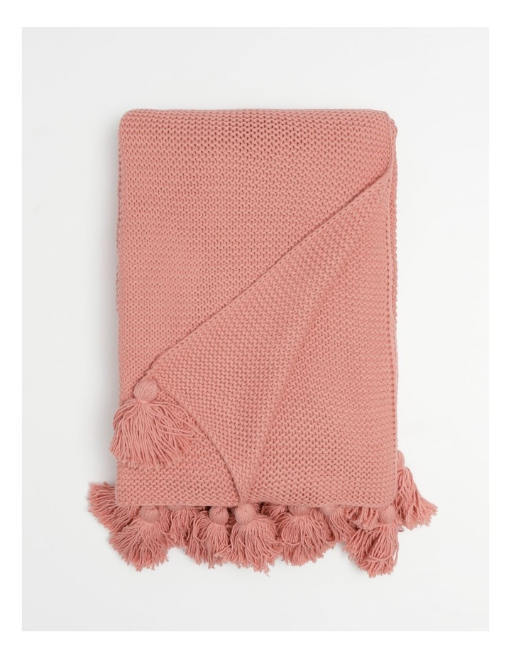Melaky Knitted Tassel Throw in Pink Clay image 1