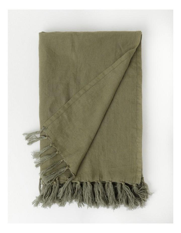 Vue El Blanca Linen Throw in Olive Green image 1