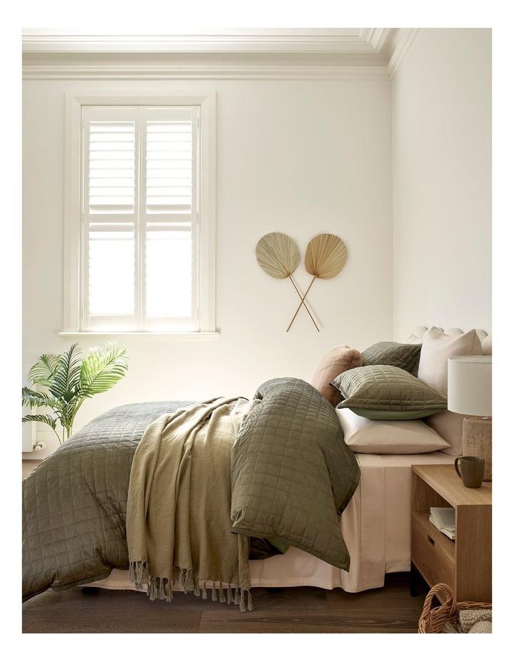 Vue El Blanca Linen Throw in Olive Green image 2