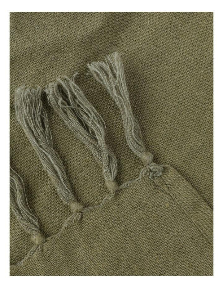 Vue El Blanca Linen Throw in Olive Green image 3