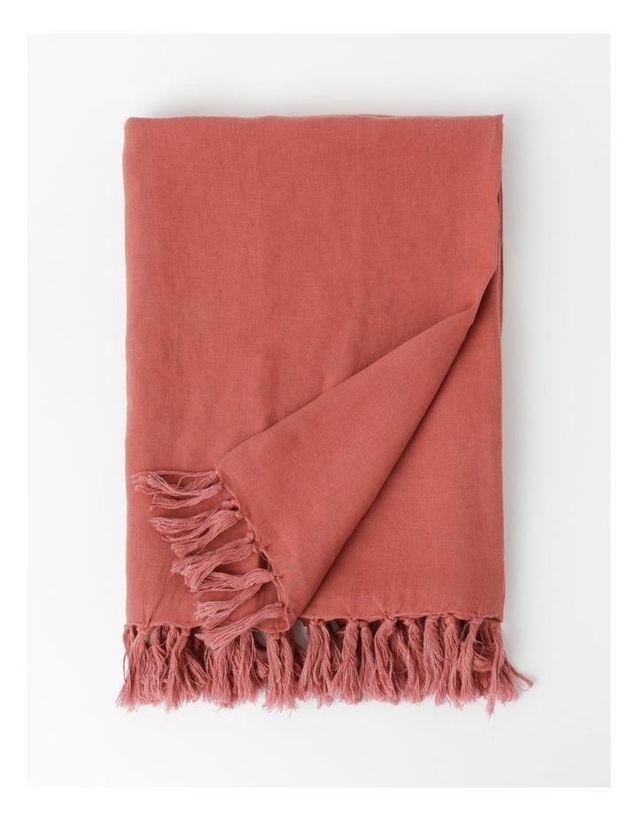 El Blanca Linen Throw in Teracotta image 1