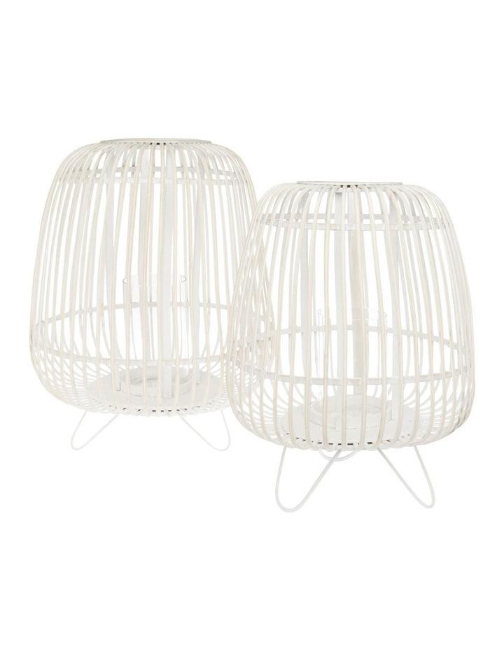 White Washed Bamboo Lantern 50cm image 3