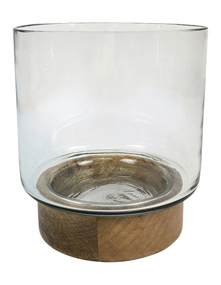 Clear Glass 15cm Hurricane With Hand Carved Natural Wood Base image 1