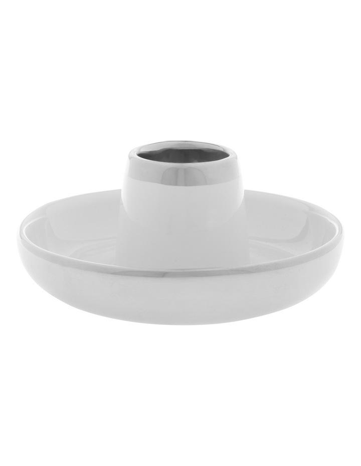 Ceramic Tea Light Holder with Silver Tone Detail 6.5cm image 1