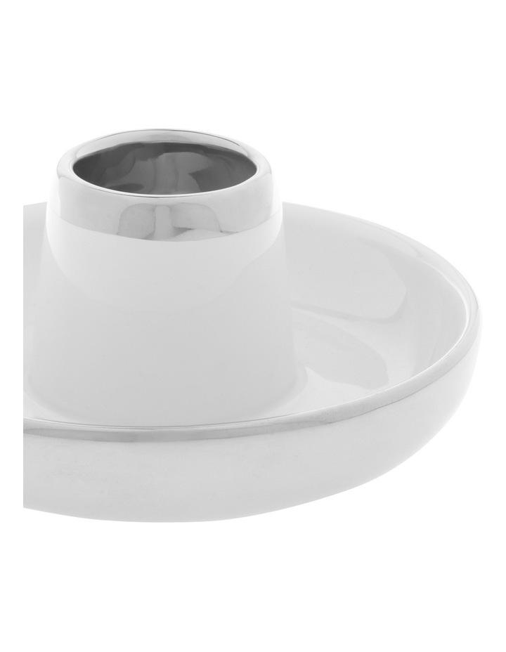 Ceramic Tea Light Holder with Silver Tone Detail 6.5cm image 2