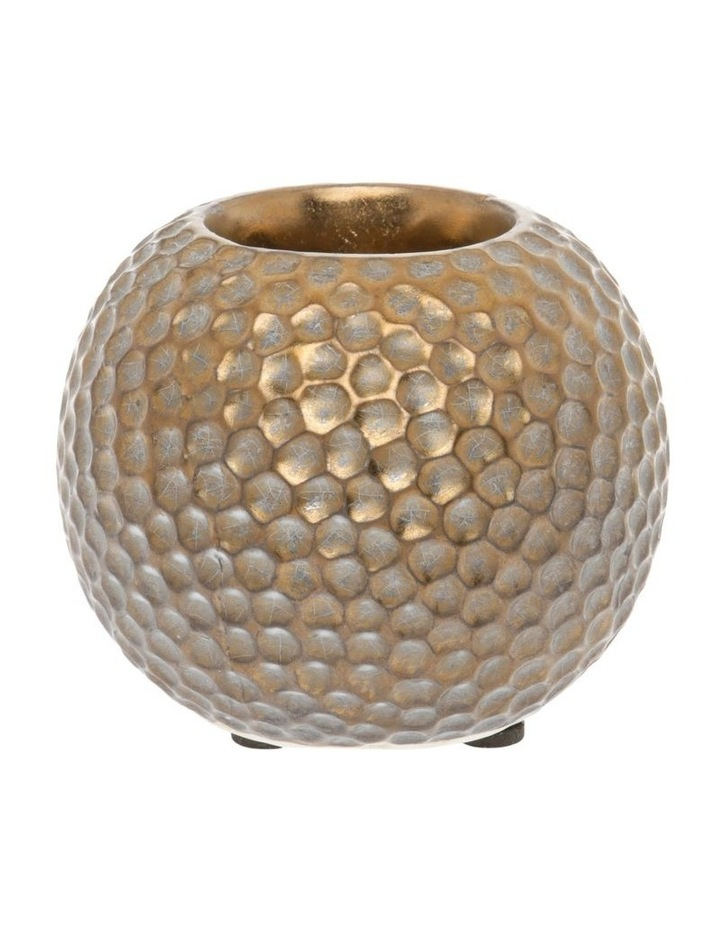 Hammered Effect Stoneware Tealight Holder Bronze image 1