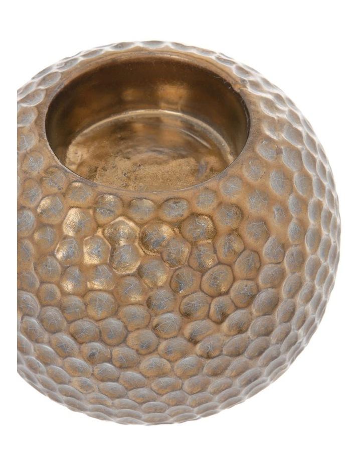 Hammered Effect Stoneware Tealight Holder Bronze image 2
