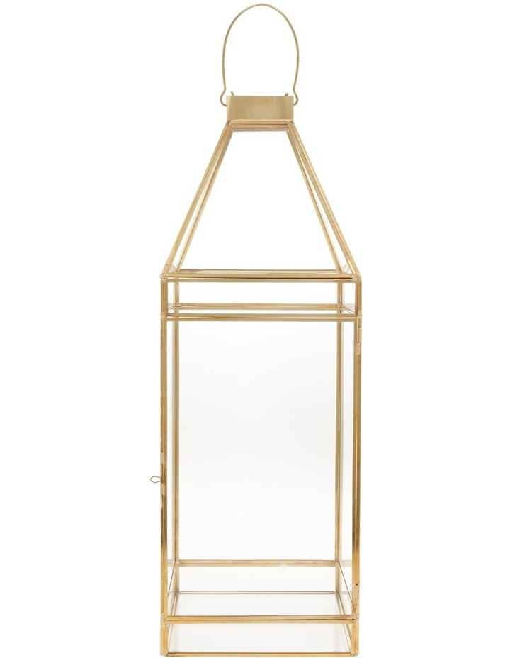 Glass Lantern with Brass Tone Frame 45.5cm image 1