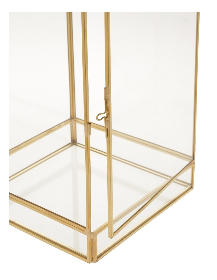 Glass Lantern with Brass Tone Frame 45.5cm image 2