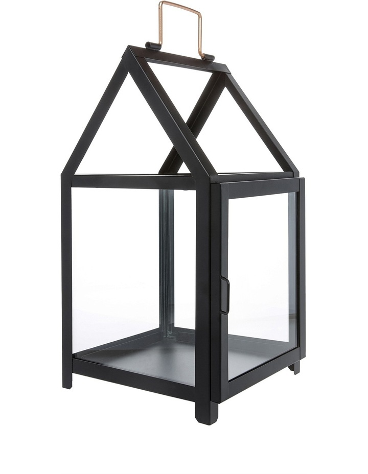 Glass Lantern with Black Iron Frame 38.5cm image 1