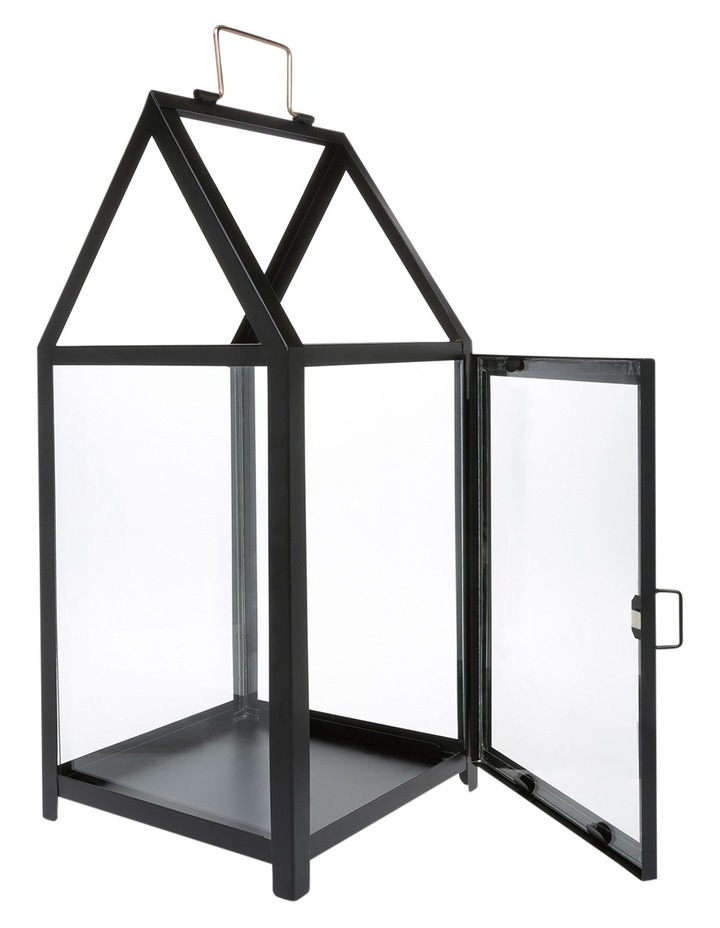 Glass Lantern with Black Iron Frame 50.5cm image 1