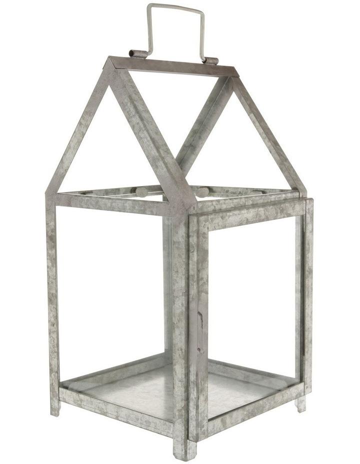 Glass Lantern with Galvanised Steel Frame 38cm image 1
