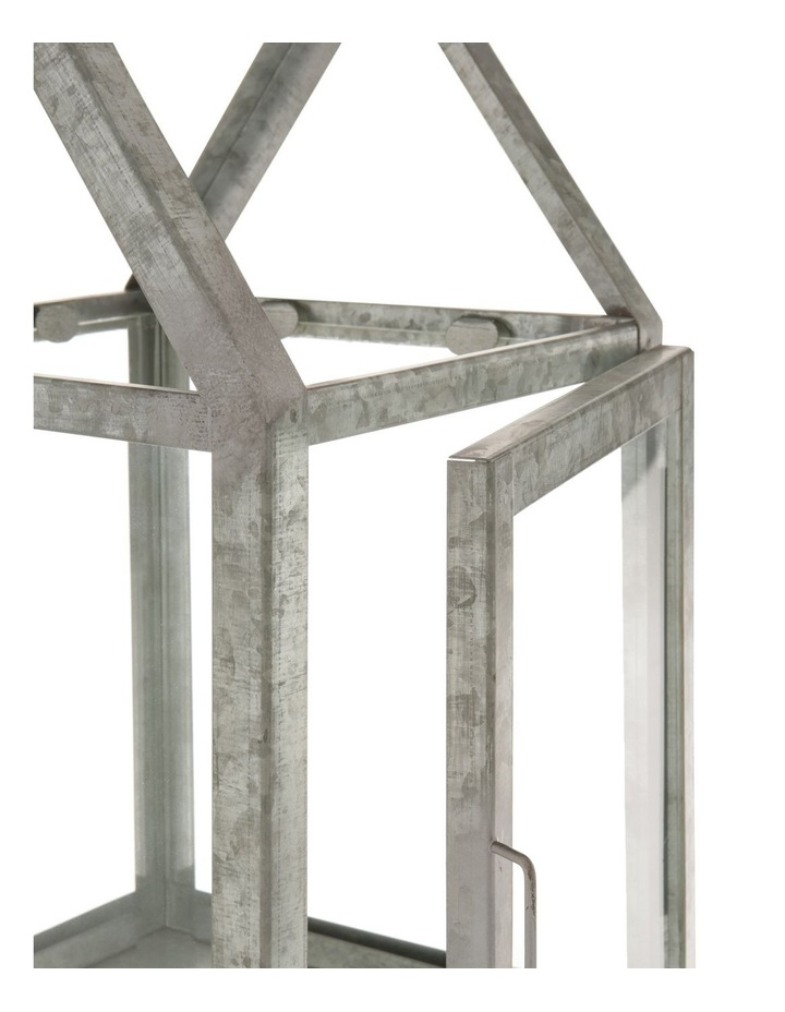 Glass Lantern with Galvanised Steel Frame 38cm image 2