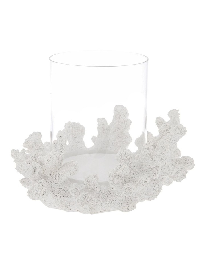 Coral Hurricane Candle Holder in White image 1