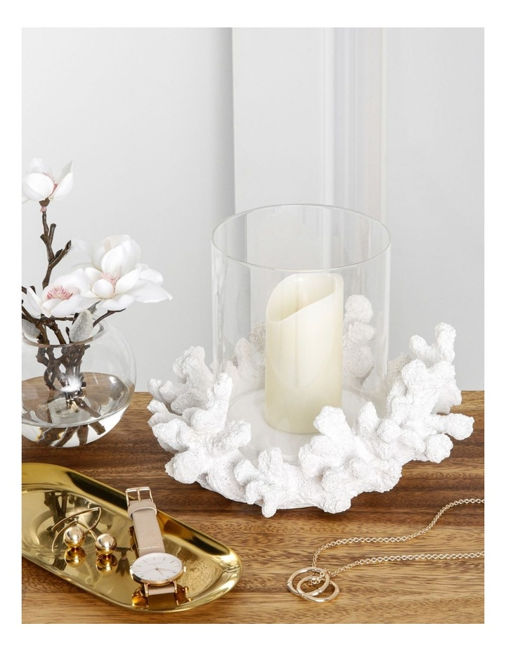 Coral Hurricane Candle Holder in White image 3