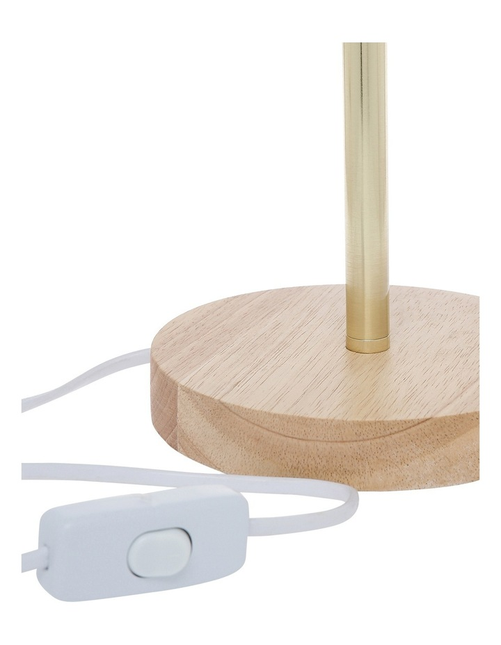 Powder Coated  Table Lamp with Wooden Base 46cm Sage image 2