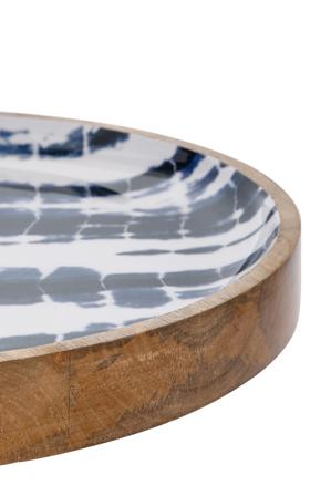 Australian House & Garden - Tumby Bay Natural Wood and Enamel Shibori Decorative Tray