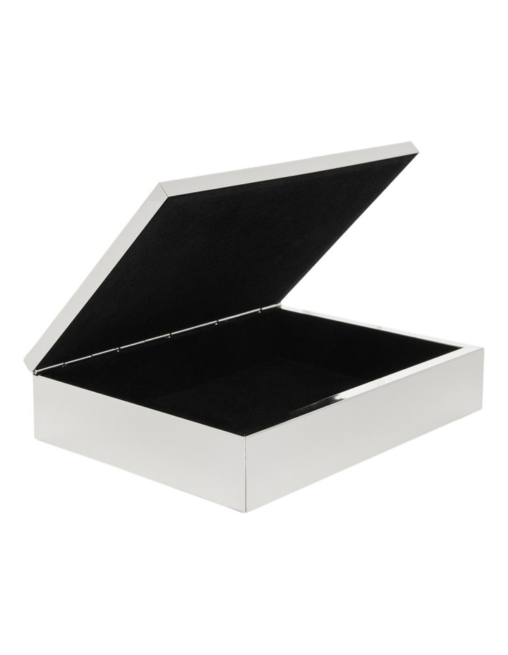 Silver Plated Metal 20cm Box with Textured Lid image 2