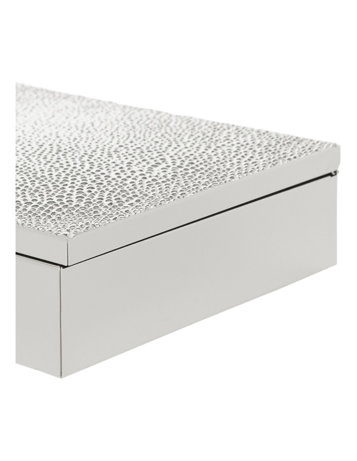 Silver Plated Metal 20cm Box with Textured Lid image 3