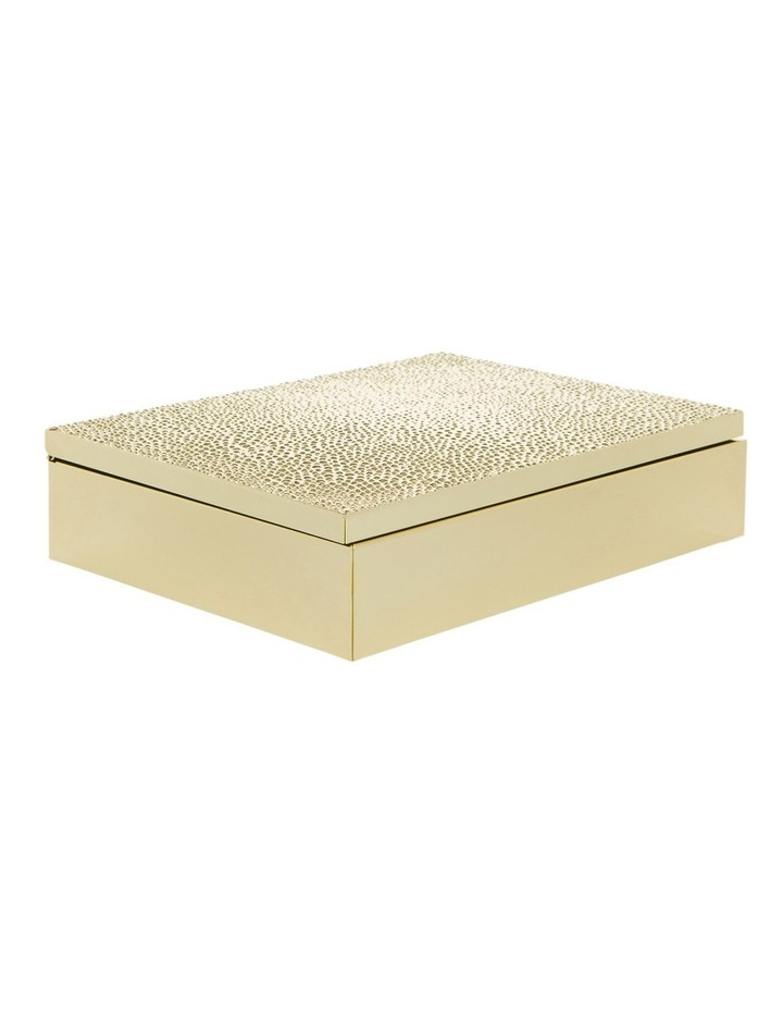 Gold Metal 20cm Box with Textured Lid image 1