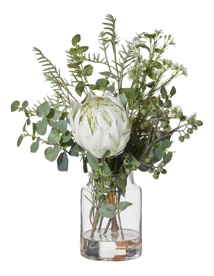 Large Native Mix Bouquet With Protea Vase White image 1