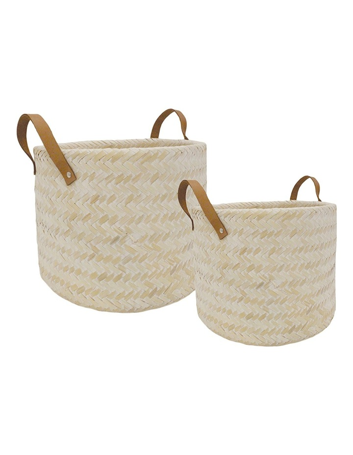 Hand Woven Double Walled Set Of 2 Bamboo Baskets With Leather Handles image 1