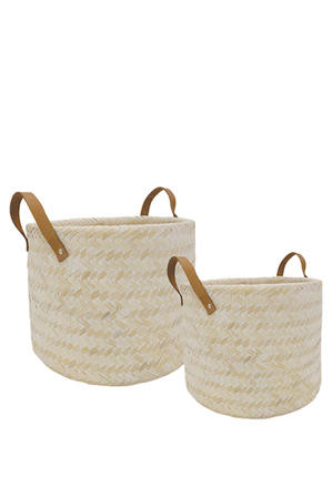 Australian House & Garden - Hand Woven Double Walled Set Of 2 Bamboo Baskets With Leather Handles