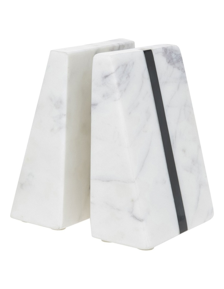 Hand Carved Marble Book End with Black Stone Inlay image 1