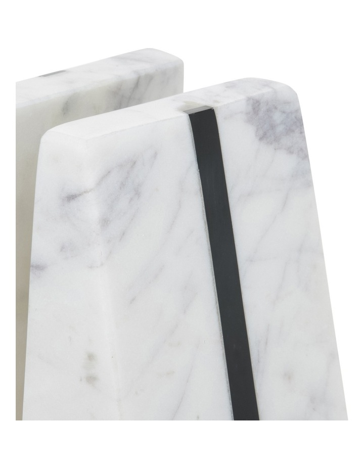 Hand Carved Marble Book End with Black Stone Inlay image 2